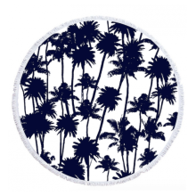 100% cotton creative palmtree black Round Beach Towel RBT-173