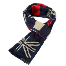 Premium en stock drapeau UK impression conception tricoté écharpe hommes en gros