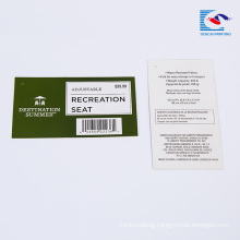 Chinese suppliers custom Commodity bar code Explanatory text tags