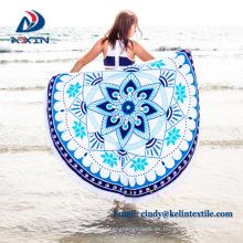 Fábrica china reactiva de impresión redonda toalla playa