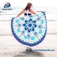 Usine direct Chine réactive impression ronde serviette plage