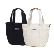 Small Natural Cotton Canvas Tote Bag with Zipper