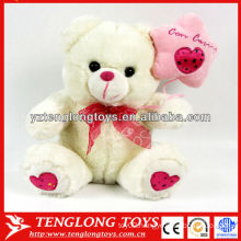 Stuffed and funny plush white teddy bear for decoration or gifts