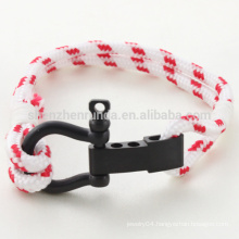 Wholesale Fashion Stainless Steel Black Plating Shackle Bracelet Rope Bracelets with Hook Accessories