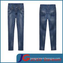 Factory Wholesale Fashion Lady High Waist Trousers Denim Pants (JC1268)
