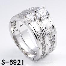 Moda Jóias 925 Anéis Casal de Prata com Zircônia (S-6921)