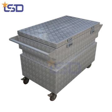 Caja de almacenamiento de herramientas de aluminio a prueba de golpes 4 * 4 ruedas Caja de almacenamiento de herramientas de aluminio a prueba de golpes 4 * 4