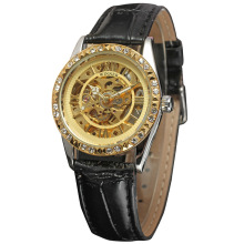 luxury golden women watch with diamond setting dial design