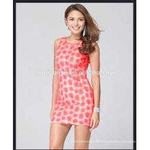 Lady casual bodycon Pencil Kleider Rundhalsausschnitt Stickerei Blume chic sexy Kleid ärmelloses Design Kleid Damen Damen