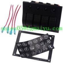 Disyuntor del panel del interruptor de eje de balancín de la prenda impermeable del aluminio LED de 4 cuadrillas