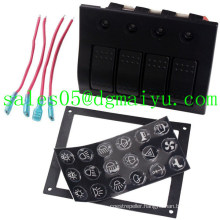 4 Gang Aluminium LED Waterproof Rocker Switch Panel Circuit Breaker
