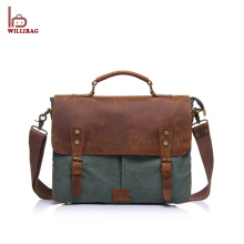 2018 Popular Custom Men's Leather Canvas Messenger Bag