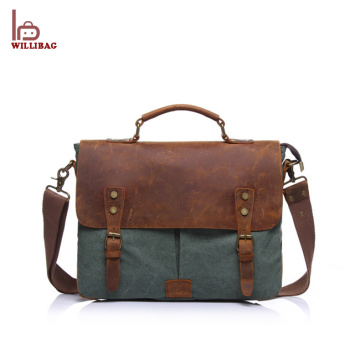 2018 Popular Custom Men's Leather Canvas Messenger Bag