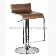Chaise de bar en chêne à haute hauteur avec pied chromé (SP-BBC202)