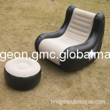 comfortable black inflatable air sofa chair with foot support