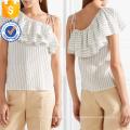 Um ombro manga curta branco e preto babados listrado verão top manufatura atacado moda feminina vestuário (ta0090t)
