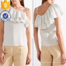 Ein-Schulter Kurzarm Weiß und Schwarz Rüschen Striped Sommer Top Herstellung Großhandel Mode Frauen Bekleidung (TA0090T)