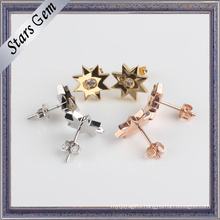 Fashion 925 Silver Gold Plated Star Shape Earring Jewelry