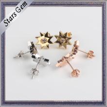 Мода 925 серебряных позолоченных звезд форме серьги ювелирные изделия