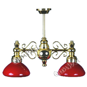 2 Down-Arm Chand W/Red Flr Glass Shade