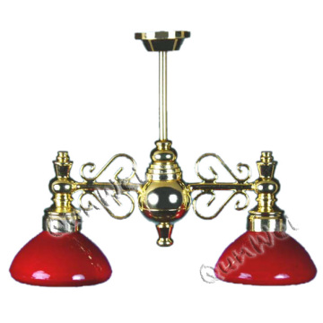 2 شفة أسفل الذراع W / Red Glass Glass Shade