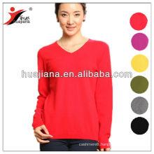 basic design women 100% cashmere sweater v neck