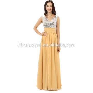Großhandel billig Hochzeit Brautjungfern Top Silber Farbe Pailletten Abendkleid Kleid 2017