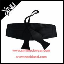 Silk Woven Black Bow Tie and Cummerbund Bowtie