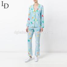 Atacado sleepwear set outono manga longa impressão mulheres pijamas