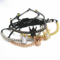 Handgemachte verstellbare Seil Stahl Bead Crown Armband