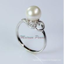 Bague en perles d'eau douce en argent sterling (ER1602)