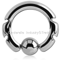 Surgical Steel Wavy Line Ball Closure Ring