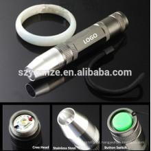 LED de aço inoxidável recarregável Mini Jade Testing Lanterna, luz led flash