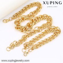 63844 Fashion Cool 18k alliage d'or plaqué cuivre Imitation chaîne de bijoux ensemble