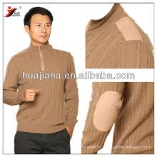 вязаный молнии пуловер 100% кашемир мужчины свитер