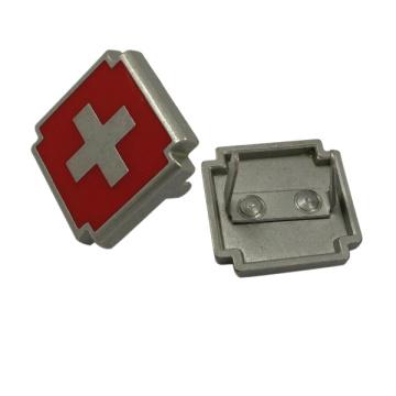 Rotes Kreuz Design Custom Metal Logo Platte für Handtaschen