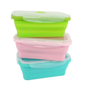 Untuk Student Lipat Take Out Lunch Box Silicone Food Container