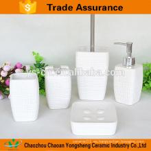 Mayorista línea cuadrada 5pcs accesorio de cerámica del cuarto de baño para el hotel