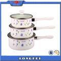 3 Sets Single Handle Enamel Sauce Pot Casserole with Glass Cover