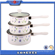 3 Sets Single Handle Enamel Sauce Pot Casserole with Glass Cover