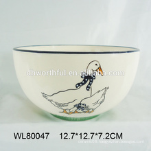 Handmade ceramic bowl with duck decal for kitchen