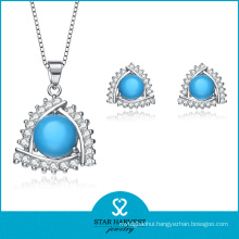 Simple Turquoise Sterling Silver Necklace and Earrings (J-0141)
