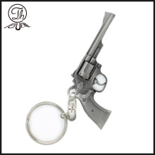 Antique silver Revolver gun shape metal keychain