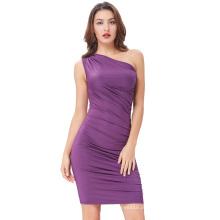 Kate Kasin Sexy Cheap Womens High Stretchy One Shoulder Plissado Short Purple Bodycon Cocktail Dress KK001002-1