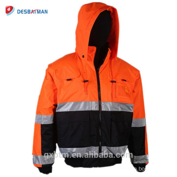 Wholesale Winter Hi Vis Workwear Hoodie Excellent Quality ANSI Class 3 High Visibility Reflective Work Safety Vest Jacket