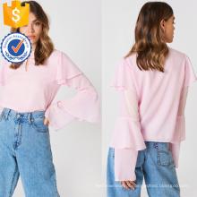 Rosa bonito babados longo flounce manga verão blusa manufatura atacado moda feminina vestuário (t0047b)