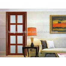 Porta de alumínio com grelha de vidro, porta de sala interior de design moderno