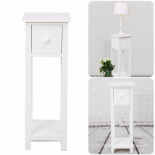 White Bedside Telephone Table With Drawer Side Living Room Slim Tall Furniture
