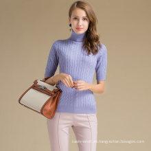 Audult Custom Half Sleeve Turtleneck Knit Cashmere Wool Sweater para mujeres