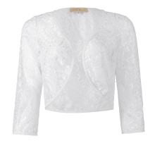 Kate Kasin Women's Three Quarter Sleeve Cropped Short Open White Lace Bolero Shrug Shawl KK000430-2